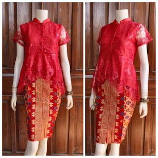 Baju Broklat Kebaya Batik motif prada merah