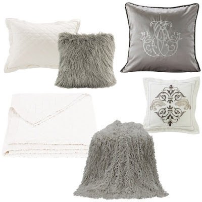 White Diaamond Linen Quilt and Sham, Mongolian Fur Grey Throw and Pillow, Kerrington Euro Sham, Charlotte Accent Pillow