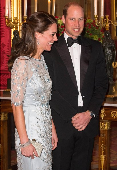 Kate Middleton the Duchess of Cambridge wore an elegant ice blue Jenny Packham gown for Gala Dinner at the British Embassy in Paris