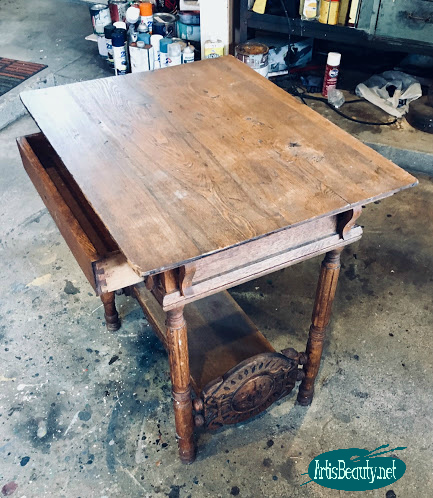 before vintage antique library table turned wicked emerald green and mahogany regal