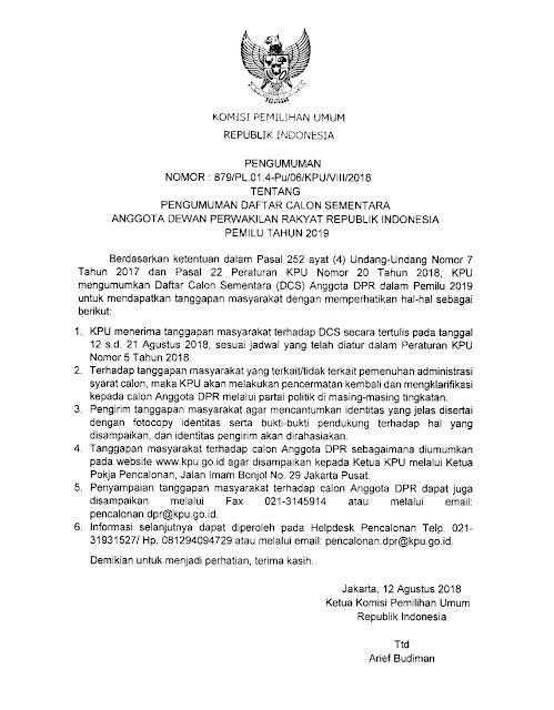 Calon anggota dpr ri pemilu 2019
