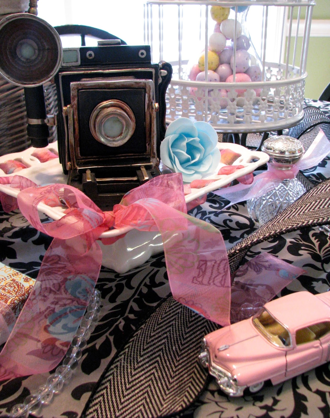 Vintage camera, vintage model car, and birdhouse decorate the vintage birthday party.