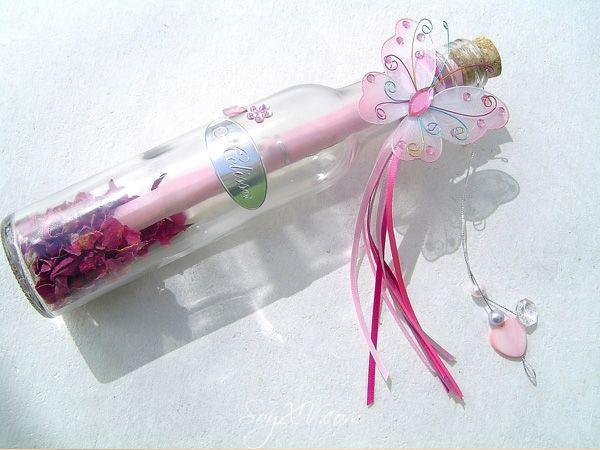 Invitación de Pergamino en botella de vidrio cristal