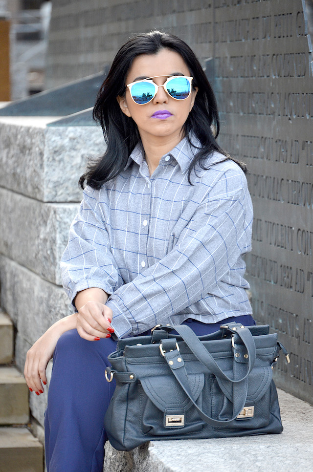 Plaid Crop Blouse-Mari Estilo- Outfit para el Trabajo- Fashion Blogger- Fashion Ideas