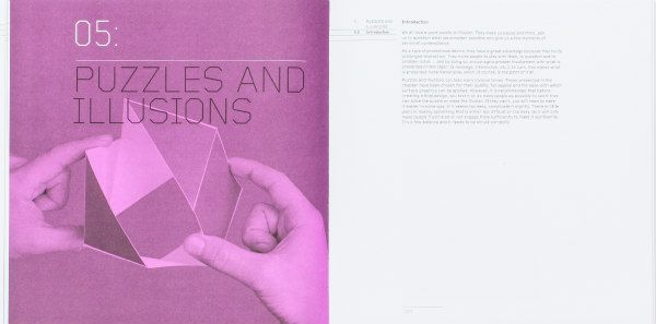 two puzzles and Illusion sample pages from Cut and Fold Techniques for Promotional Materials, Revised Edition