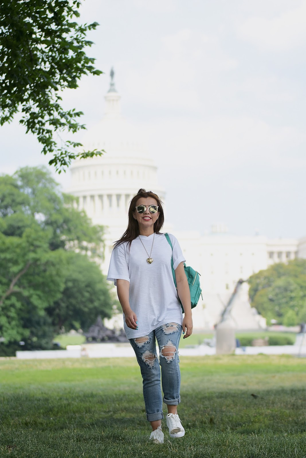 Wearing: BackPack: Fanny Love Shoes: ESPRIT T-shirt: Old Navy Jeans: Nordstrom
