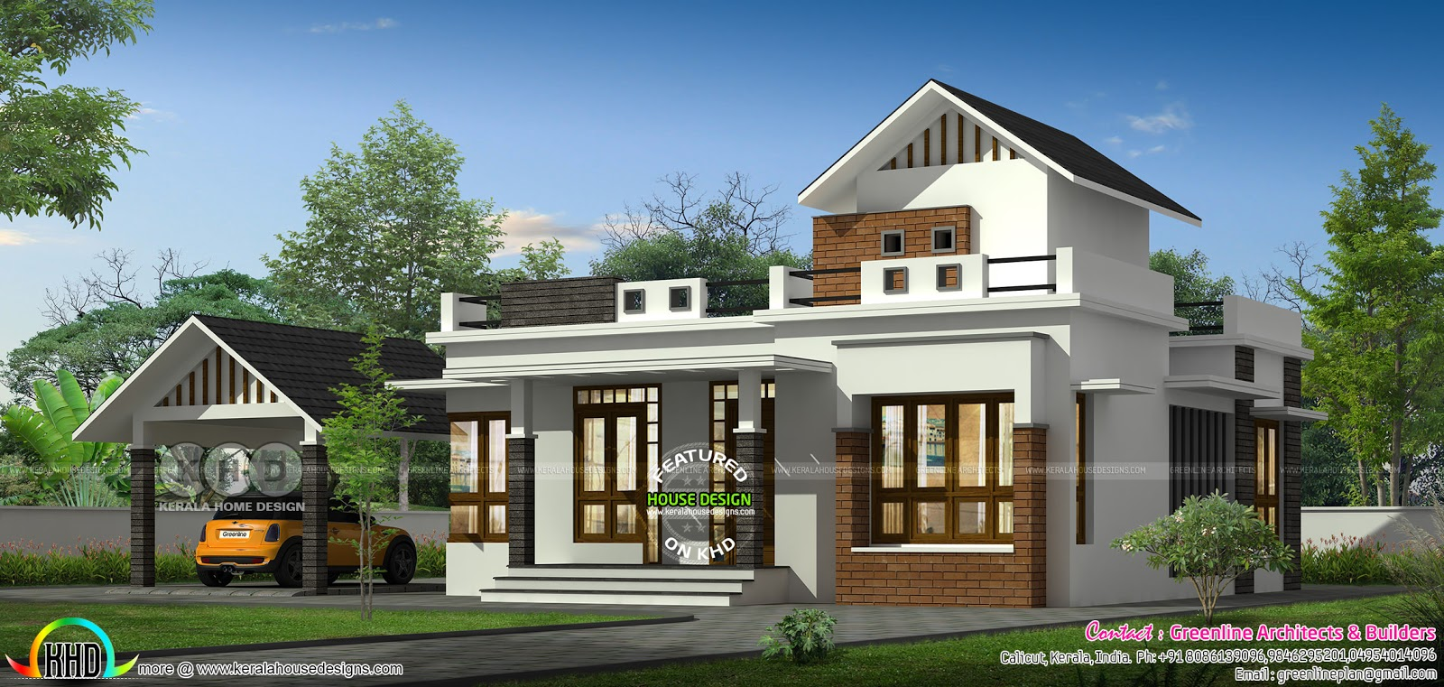 Single Floor House With Separate Car Porch Kerala Home