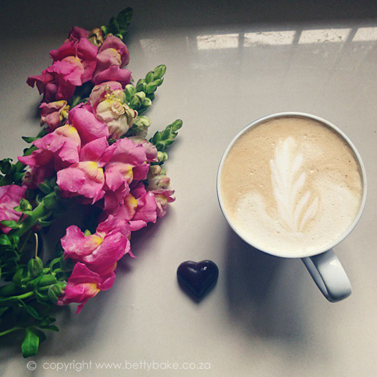 caffeine, coffee, latte art, love, flowers, heart, chocolate, betty bake, blog, cape town
