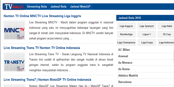 Situs Live Streaming TV Ball 7