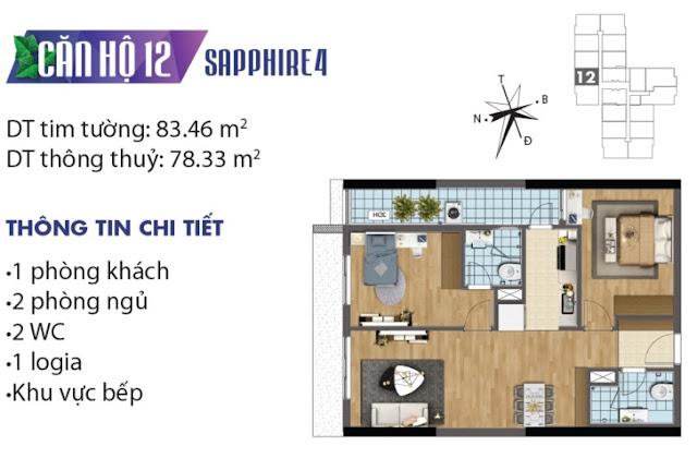 Mặt bằng thiết kế căn số 12 tòa Sapphire 4