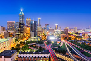 Researchers looked at 11 metro areas — including Atlanta, Georgia, pictured — to examine how much local emissions-reductions programs can help combat climate change. They found that there is likely to be greater impact in the area of residential energy rather than transportation, especially given local hurdles against more compact development. (Credit: MIT News) Click to Enlarge.