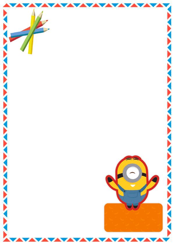 Portadas para cuadernos cuadernos para niños y niñas de primaria de minion con triangulo