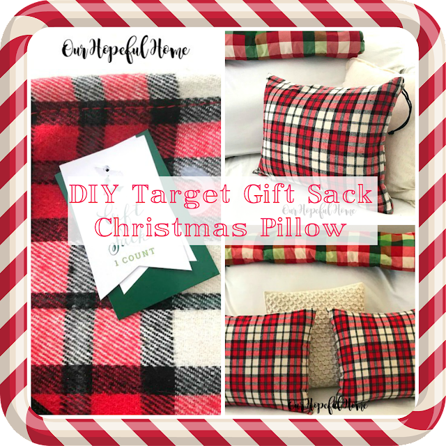 red flannel gift sack pillow