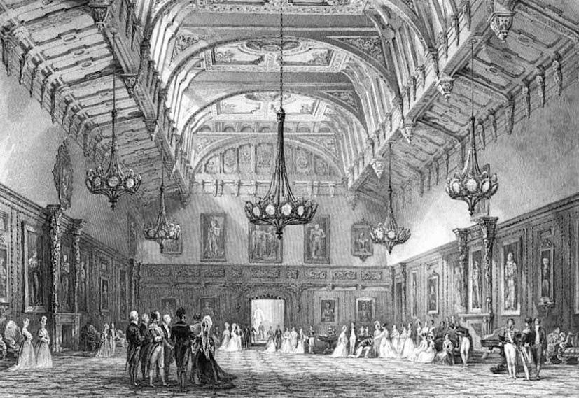 Waterloo Chamber, Windsor Castle,  from Windsor Castle and its environs by L Ritchie (1848)