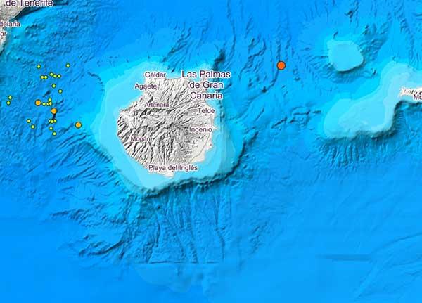 terremoto noreste Gran Canaria en aguas de Atlántico Canarias, noreste de Gran Canaria, 3. 2 grados de magnitud