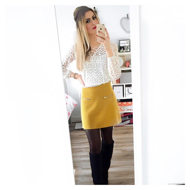 zara mustard skirt and river island white lace top outfit