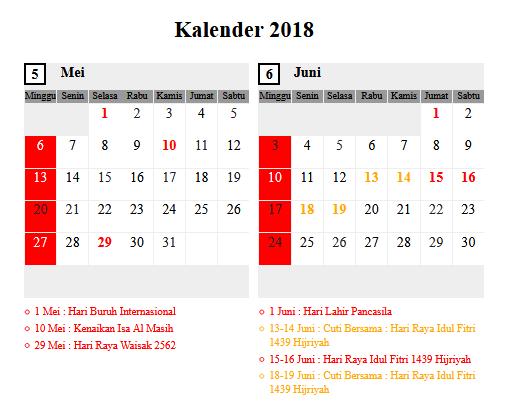 Kalender Bulan Mei 2018