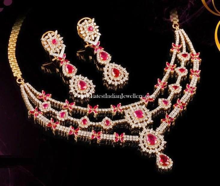 Diamond Ruby Necklace and Earrings