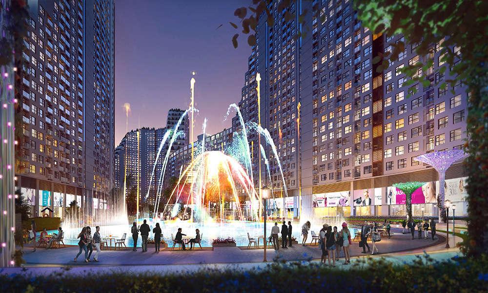 Tiện ích quảng trường nước và ánh sáng dự án căn hộ River City quận 7 HCM