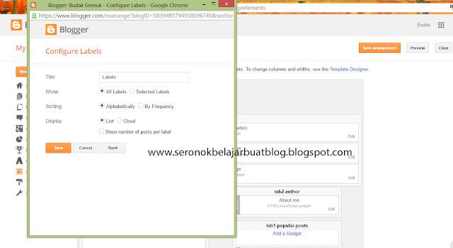 Cara letak Label Dekat Blog !
