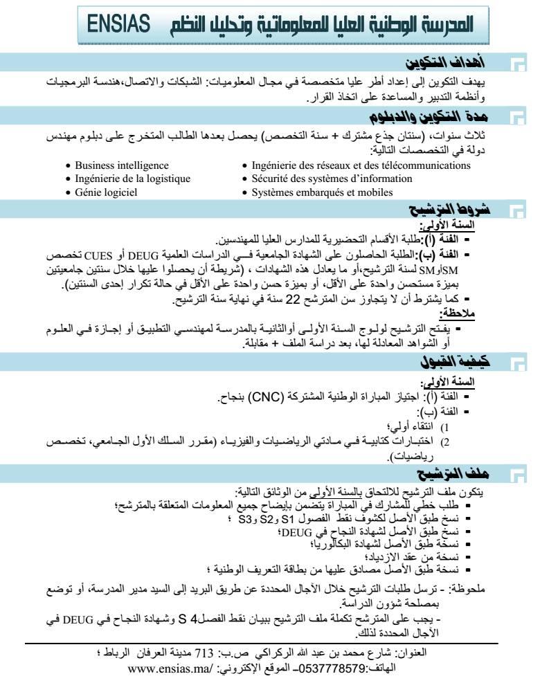 المدرسة الوطنية العليا للمعلوميات و تحليل النظم