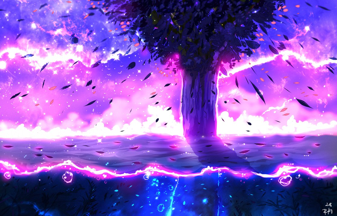 Anime Girl Purple Wallpaper خلفيات من الخيال جميلة عالية الوضوح مداد الجليد