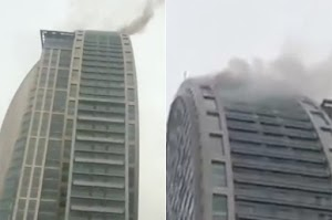 Photos : Trump Tower Engulfs In Flames In Azerbaijan Capital Baku Weeks After Deadly Blaze At Building In New York