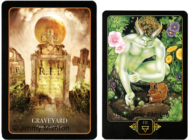 Halloween Oracle Graveyard Jimmy Manton Dreams of Gaia Tarot Three of Earth Ravynne Phelan Blog blogger