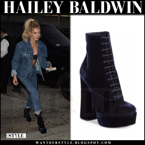 Hailey Baldwin in navy velvet boots prada july 27 2017 street style what she wore