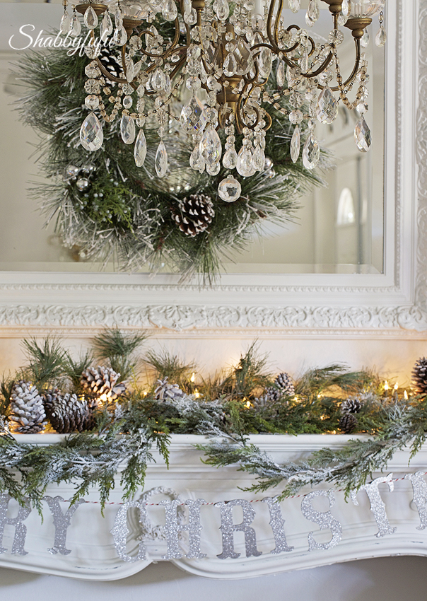 elegant french christmas mantel