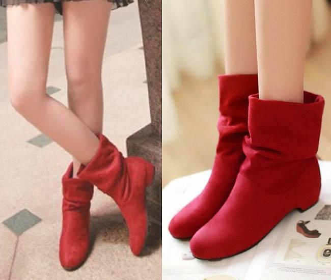 Sepatu flat model knee boots untuk wanita kaki besar