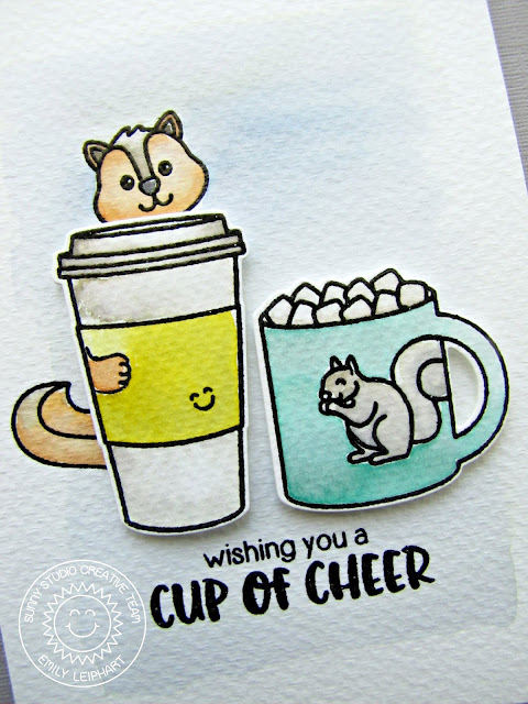 Sunny Studio Stamps: Mug Hugs Wishing You A Cup of Cheer Squirrel Card by Emily Leiphart.