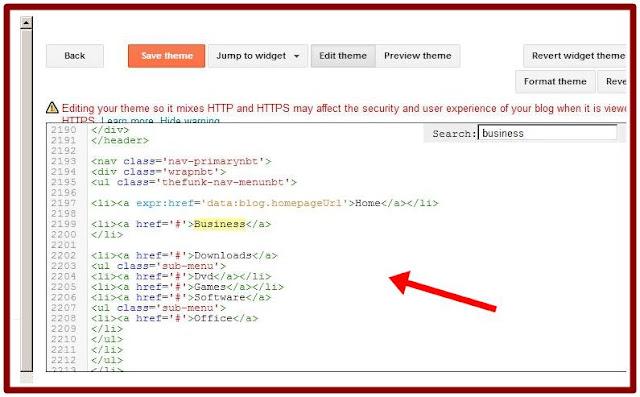 how to edit menu bar of blogger blog