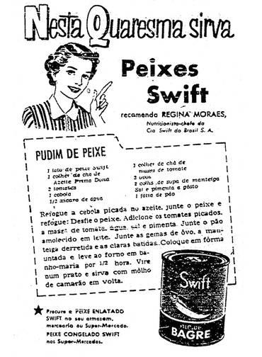 Propaganda de 1957 da Swift que apresentou uma receita de Pudim de Peixe, às vésperas da Semana Santa