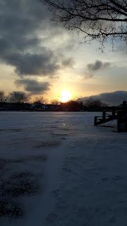 Coucher de soleil, parc Villeray, Montréal, l'hiver, neige