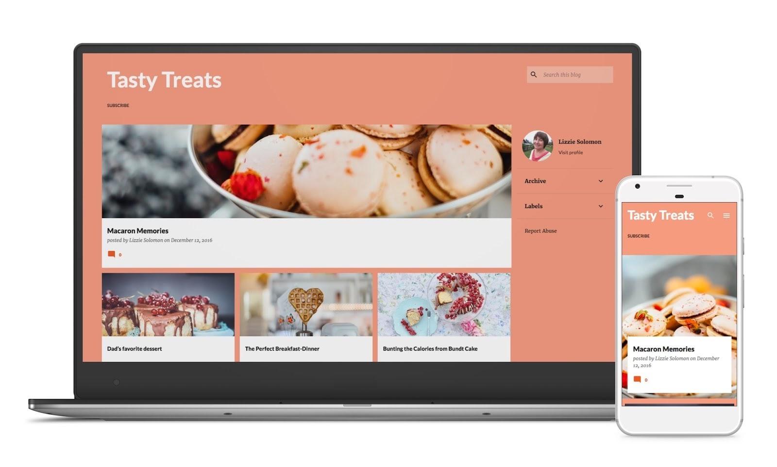 EmporioテーマのBloggerブログのパソコンとスマホのサンプル