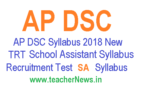AP DSC (TRT) SA Syllabus 2018 AP DSC School Assistant Syllabus in Telugu/English pdf