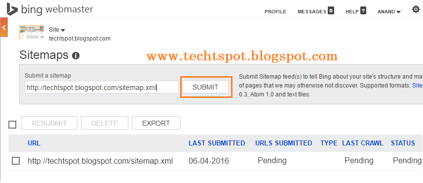 add blogger sitemap to bing webmaster tools