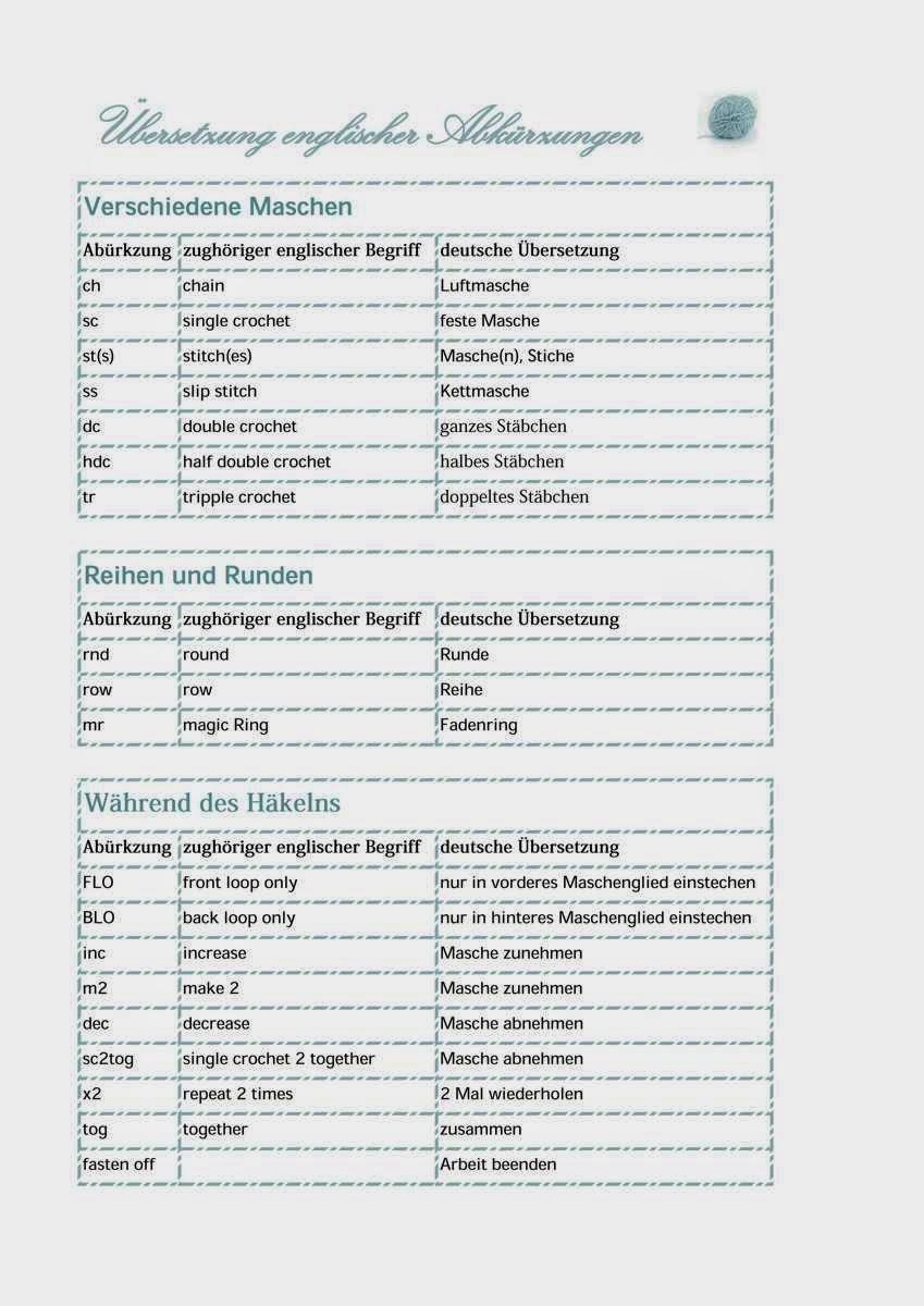 Fadenwelten übersetzung Englischer Abkürzungen In Häkelanleitungen