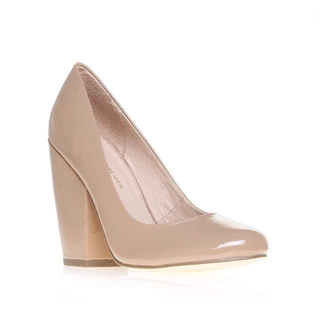 Kurt Geiger patent nude block heel court shoes