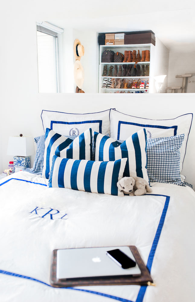 Gingham sheets, Navy and White bedding, Guide to the perfect bedroom - Chelsea NYC Studio Apartment Tour by popular New York blogger Covering the Bases