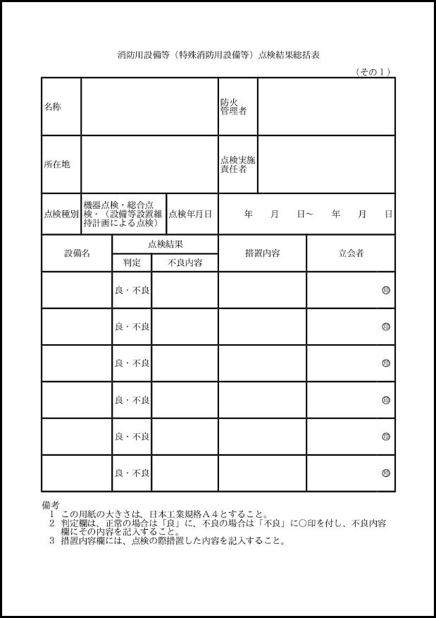 消防用設備等(特殊消防用設備等)点検結果総括表 101