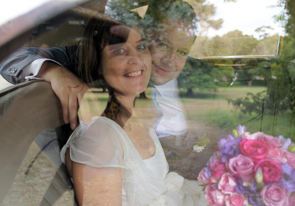 Rolls Royce bridal car, Bride and Groom window portrait, Garden Wedding Photographer Sydney.