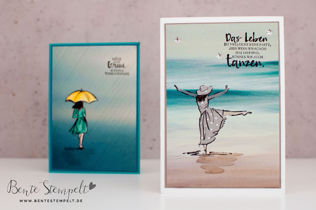 Stampin' Up! Karte Stempelset Mit Stil Beautiful You DSP DEsignerpapier gemustertes Papier Stille Natur Technik Anleitung doppelt gestempelt ausgeschnitten Meer Ozean Ocean tanzen dancing Strand maritim