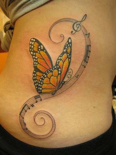 Música e 3D Tatuagem de Borboleta