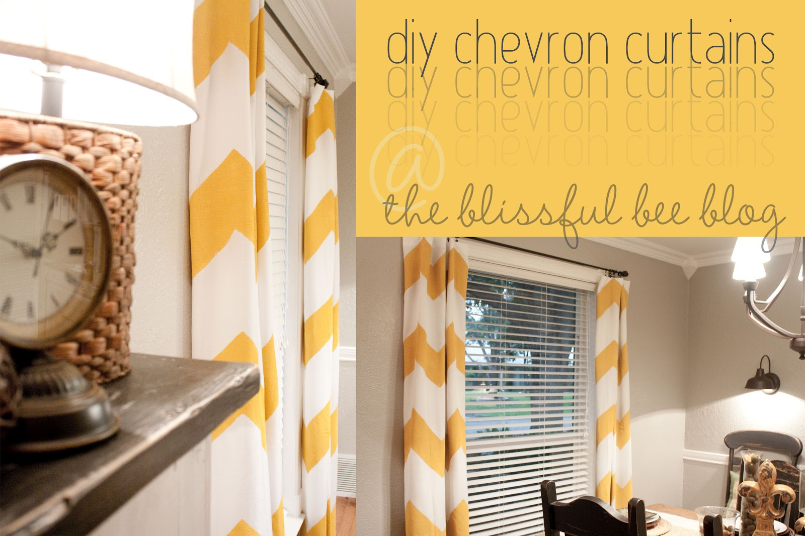 DIY Painted Chevron Curtains - THE BLISSFUL BEE