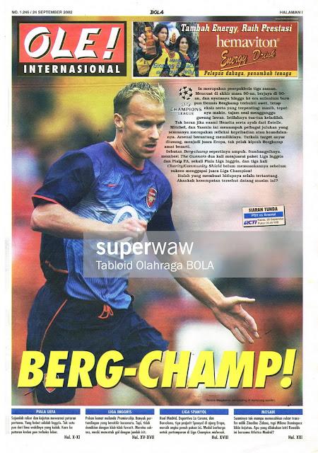 DENNIS BERGKAMP ARSENAL 2001 SOCCER