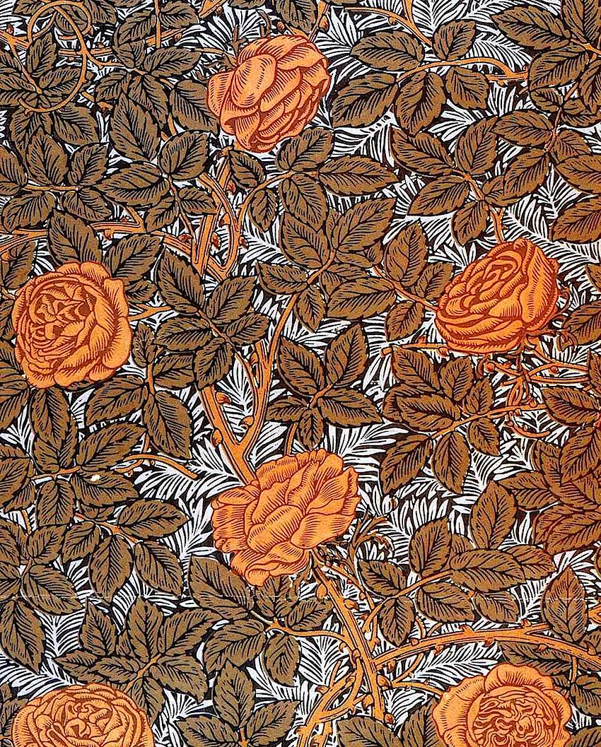 "William Morris wallpaper designed between 1873 and 1890, called ""93 Rose"""
