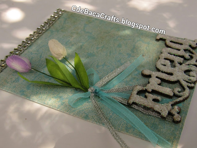 Handmade Friendship Cards with Flowers and Glitter and Rhinestone by CdeBaca Crafts Blog.