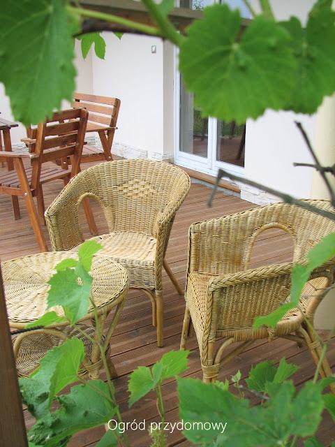 wiklinowe meble, ogród przydomowy, ogród za grosze